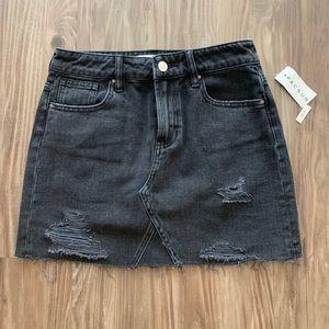 Vintage Black Denim Mini Skirt